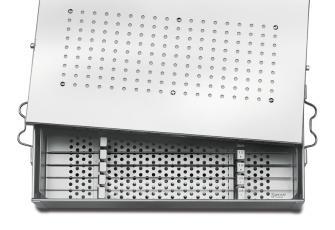 Contenedor y bastidores para los implantes Kirschner