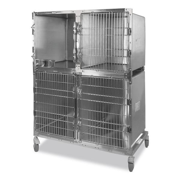 Jaula veterinaria con 3 compartimientos Shor-Line® de acero inoxidable