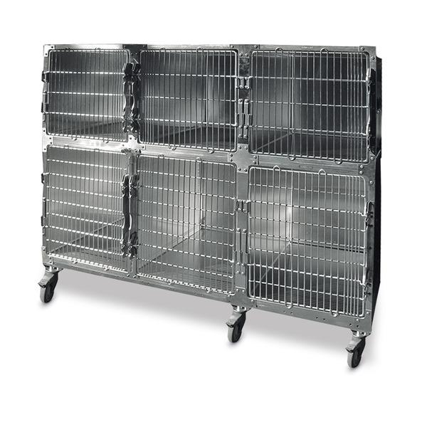 Jaula veterinaria con 5 compartimientos Shor-Line® de acero inoxidable