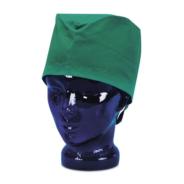 Gorro quirúrgico verde con cinta de cierre